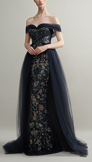 Off-The-Shoulder Embroidered Tulle Gown