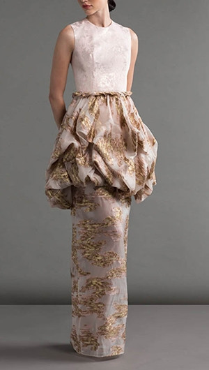 Jacquard Gown With Bubble Overlay