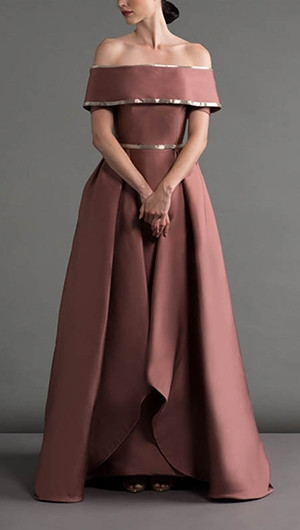 Off-The-Shoulder Dusty Pink Gown