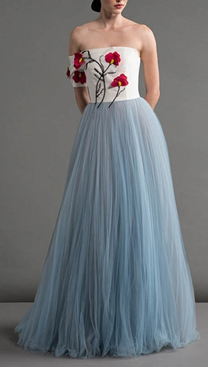Silk And Tulle Gown With Floral Motifs