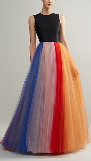 Sleeveless Colour Block Pleated Gown
