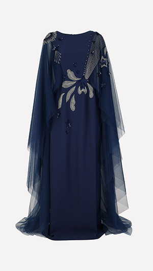 Cape Sleeve Embroidered Gown