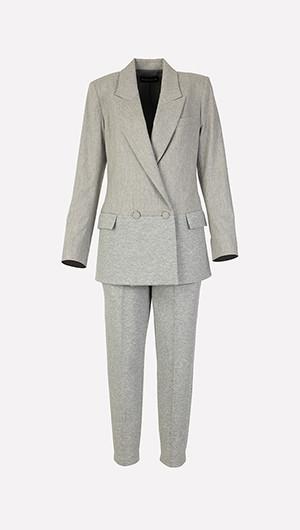 Double Breasted Blazer + Draped Waist Jersey Pants