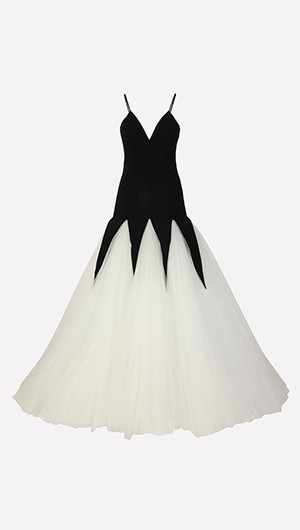 Tulle Panel Gown