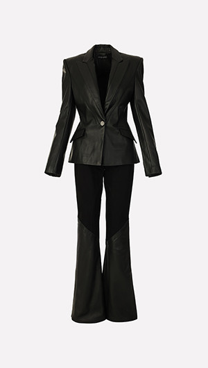 Leather Jacket & Mixed Media Pants