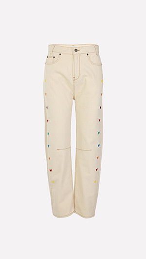 Hearts Embroidered Jeans