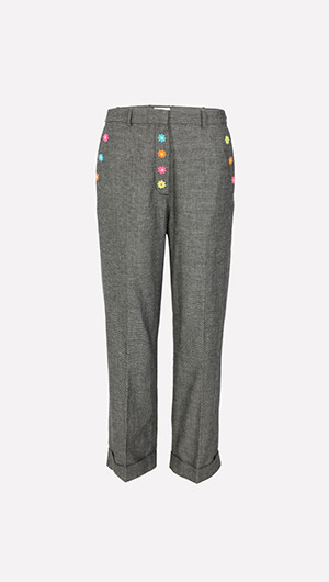 Flower Embroidered Pants