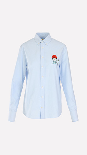 Javier x Mira Red Hat Embroidered Shirt