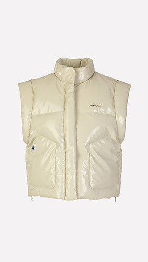 Faux Leather Puffer Vest
