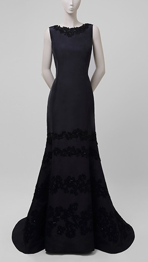 Embellished Navy Silk Gown