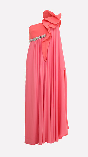 One Shoulder Caped Gown