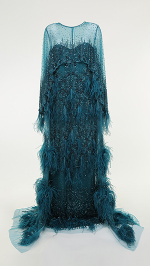 Feathered Cape Gown