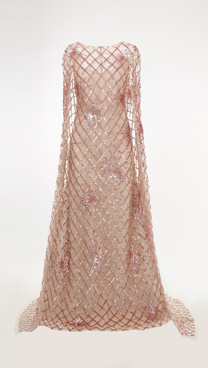 Sequin Grid Caped Gown