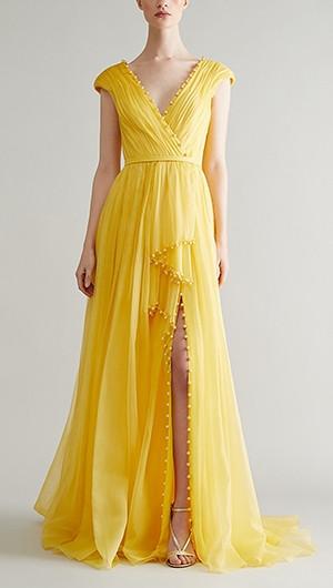 Silk Organza Draped Gown