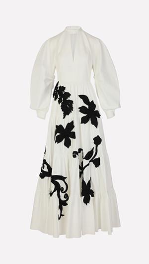 Leaf Applique Maxi Dress