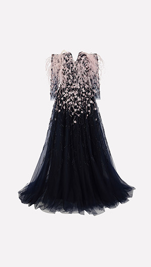 Feather Bodice Gown